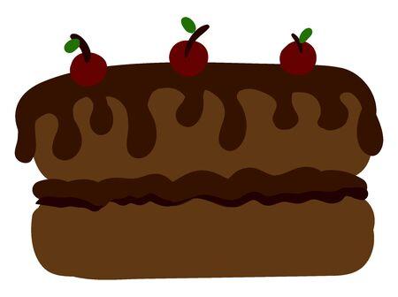 Chocolate big cake, illustration, vector on white background.