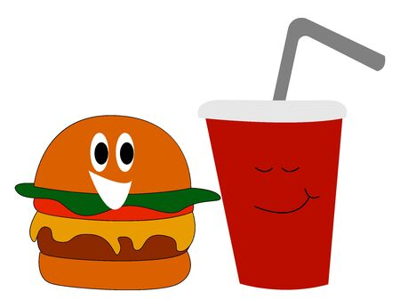 Burger and coke, illustration, vector on white background.