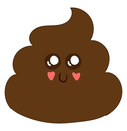 Cute poo with eyes, illustration, vector on white background. Illustration