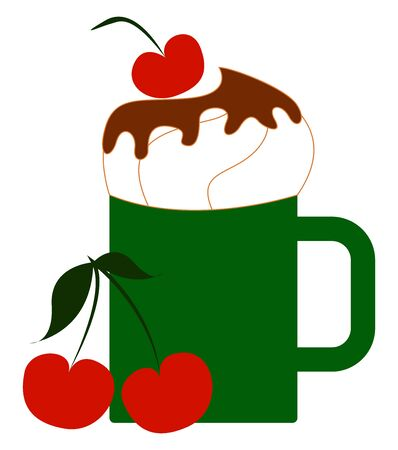 Green cup with cherry, illustration, vector on white background Foto de archivo - 132798462
