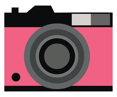 A cute funny camera in pink and black color, vector, color drawing or illustration. Ilustracja