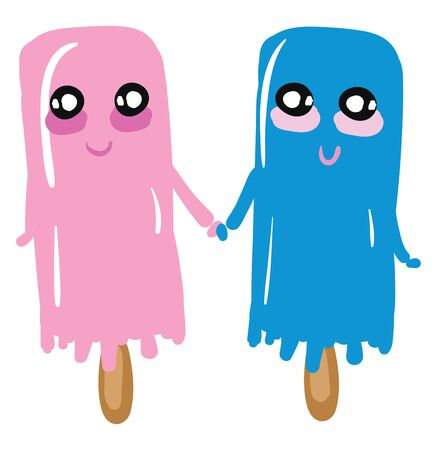 A cartoon of a pink and blue happy ice cream holding hands, vector, color drawing or illustration. Ilustração