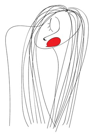 A girl sleeping with a red cheek and a long hair, vector, color drawing or illustration.