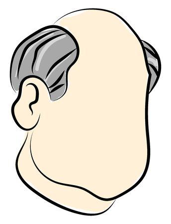 Half bald man, illustration, vector on white background