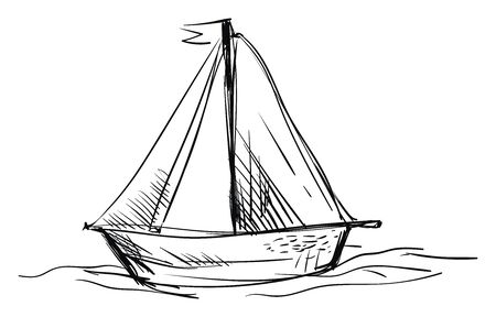 Sail boat sketch, illustration, vector on white background.