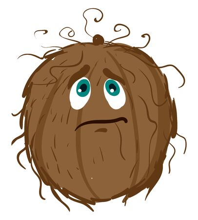 Sad coconut, illustration, vector on white background
