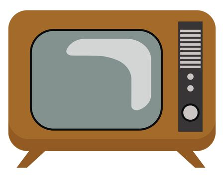 An old black and white retro tv, vector, color drawing or illustration.