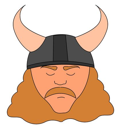 Serious viking, illustration, vector on white background.
