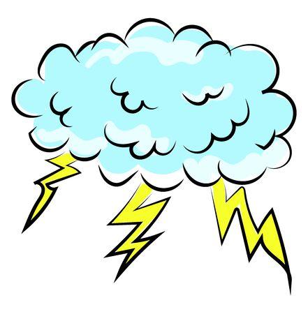 Thunder storm, illustration, vector on white background. Ilustração