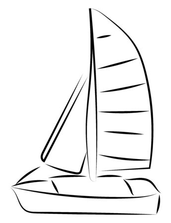 Sailing boat sketch, illustration, vector on white background.
