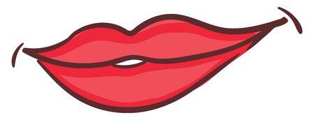 Red lips smiling, illustration, vector on white background. 向量圖像