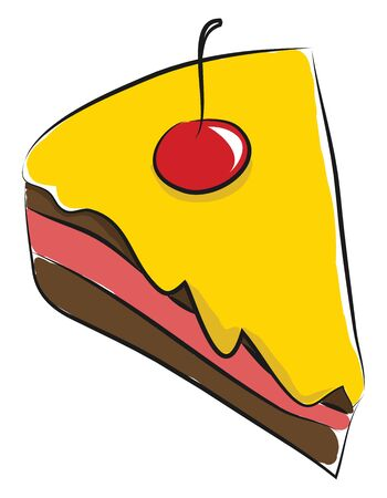 A yellow filled icing cake with cherry on top, vector, color drawing or illustration. Illustration