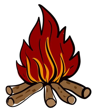 Campfire, illustration, vector on white background.