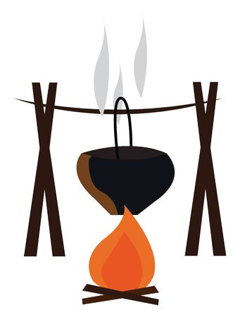 A black pot hanging above a wood fire, vector, color drawing or illustration. Vettoriali