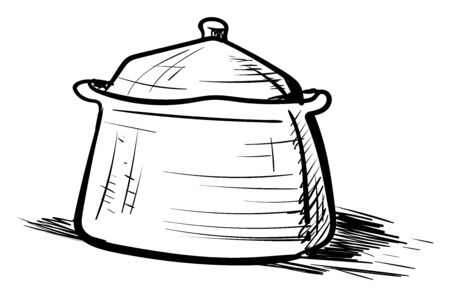 Saucepan drawing, illustration, vector on white background.