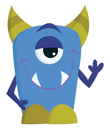 A happy 1 eyed green and blue monster with 2 sharp teeth, vector, color drawing or illustration. Çizim