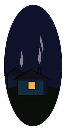 A house with a smoke coming out from the chimney in the middle of the night, vector, color drawing or illustration.