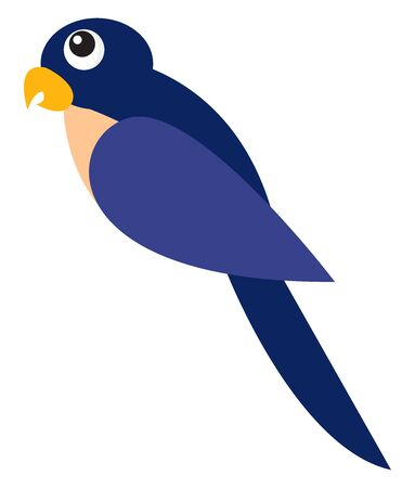 Pretty blue parrot, illustration, vector on white background.