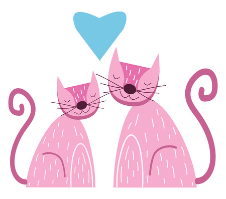 Two cute purple cats in love, vector, color drawing or illustration.