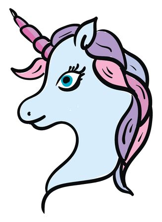 A cute unicorn in blue color, vector, color drawing or illustration. Illustration