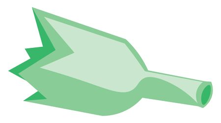 A green broken bottle with sharp edges, vector, color drawing or illustration.