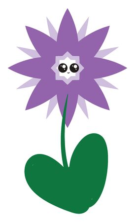 Purple cute flower, illustration, vector on white background. Çizim