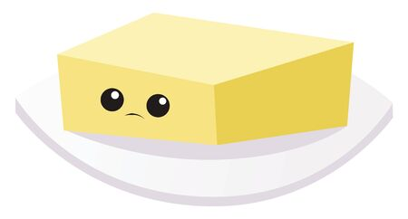 Sad little butter, illustration, vector on white background.
