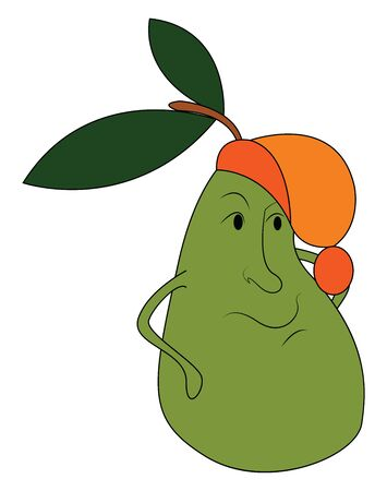 A big pear in yellow color with a leaf, vector, color drawing or illustration.