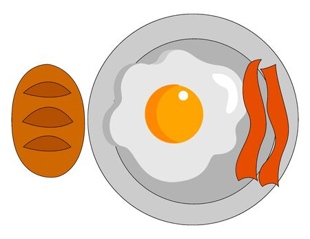 Bacon and eggs for breakfast, illustration, vector on white background. Stock Illustratie