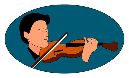 Man playing violin, illustration, vector on white background. Ilustrace