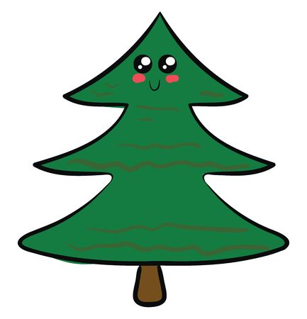 Cute christmas tree, illustration, vector on white background.