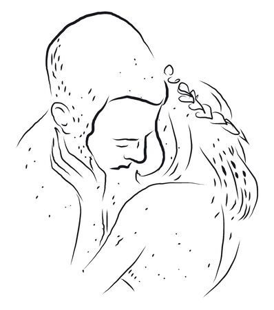 People kissing sketch, illustration, vector on white background.
