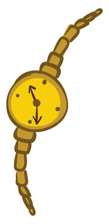 Gold wristwatch, illustration, vector on white background. Çizim