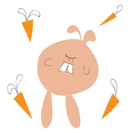 A funny cartoon of a rabbit with single closed eyes and four carrots in the background, vector, color drawing or illustration.