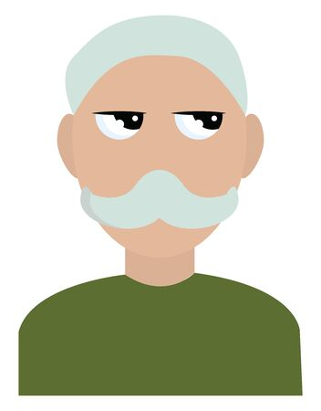 Old man looking, illustration, vector on white background.