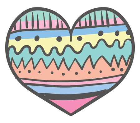 A very colorful and cute whimsical heart, vector, color drawing or illustration.