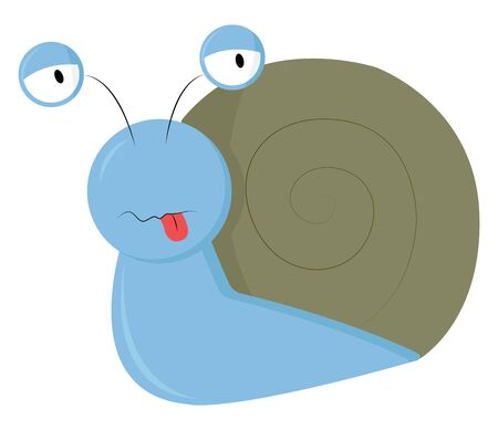 A very cute snail in blue color, vector, color drawing or illustration.