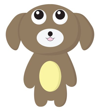 A small cute puppy with large eyes, vector, color drawing or illustration. Ilustração