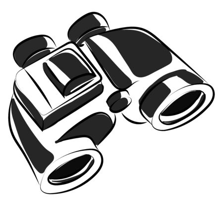 Binoculars drawing, illustration, vector on white background.