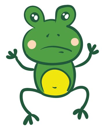A sketch of a frog which is sad, vector, color drawing or illustration. Illustration