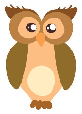 Brown big owl, illustration, vector on white background.