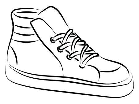 Hi tops, illustration, vector on white background. Иллюстрация