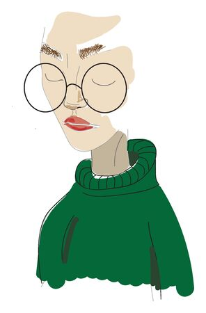 A girl in a green sweater with a big glasses, vector, color drawing or illustration.
