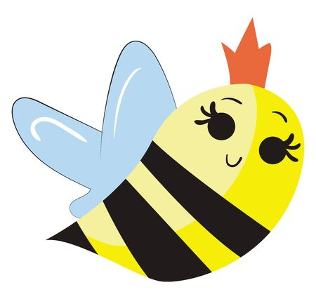 Cute queen bee, illustration, vector on white background.