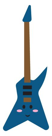 Cute blue guitar, illustration, vector on white background.