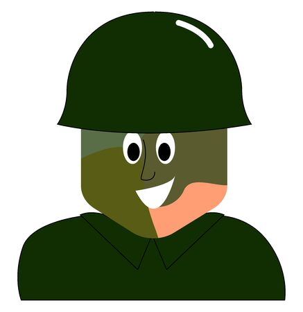 War printed soldier, illustration, vector on white background. Stock Illustratie