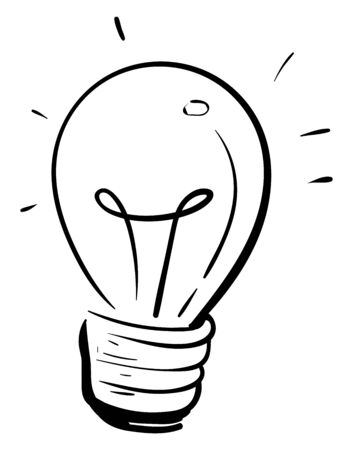 A lamp bulb silhouette in black, vector, color drawing or illustration.