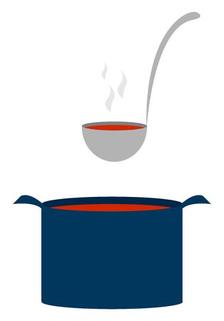 Blue pot with soup, illustration, vector on white background