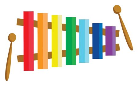 Colorful xylophone with sticks to play on it, vector, color drawing or illustration.