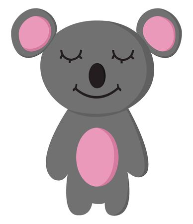 A cartoon of a happy koala with eyes closed, vector, color drawing or illustration.